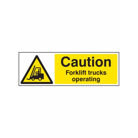 Caution forklift trucks operating sign from Floorsaver