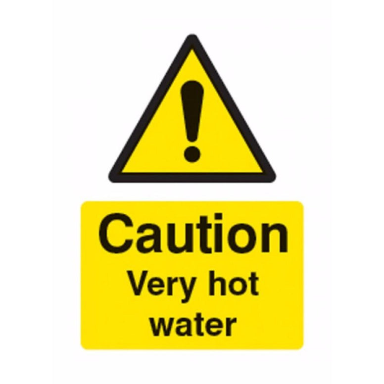 Caution very hot water sign from Floorsaver