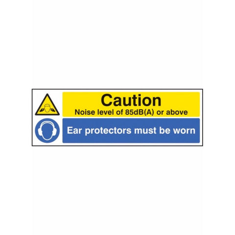 Noise level 85dB(A) ear protectors worn  sign from Floorsaver