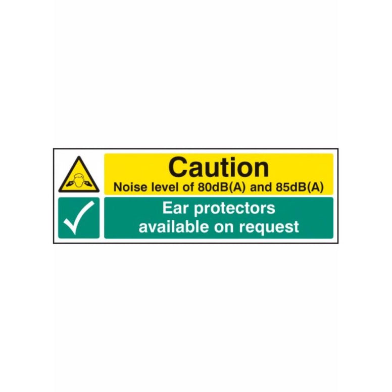 Noise level 80dB(A) & 85DB(A) ear protectors available on request sign from Floorsaver