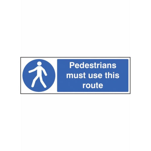Pedestrians must use this route sign from Floorsaver