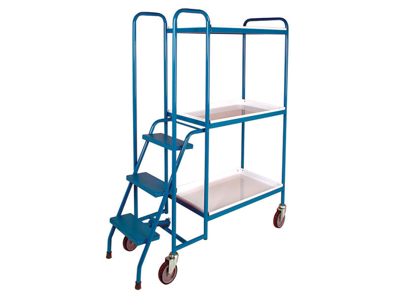 3 Shelf High Steel Order Picking Trolley