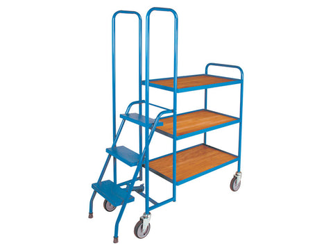 3 Shelf Low Plywood Order Picking Trolley