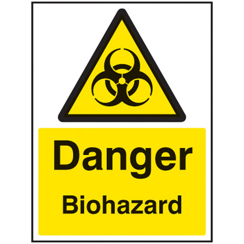 Danger biohazard sign with the biological hazard symbol to clearly show where a biological hazard is present.