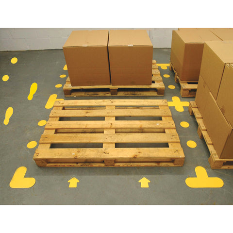 Tough, bright yellow, floor markers to mark out distances and highlight one-way systems in shops, warehouses and other high traffic areas.