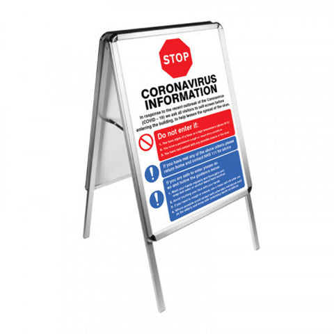 A lighweight double sided A2 aluminium a-frame holds two A2 posters