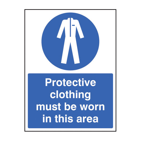 Sign with protective clothing symbol and message to identify PPE clothing must be worn in the area