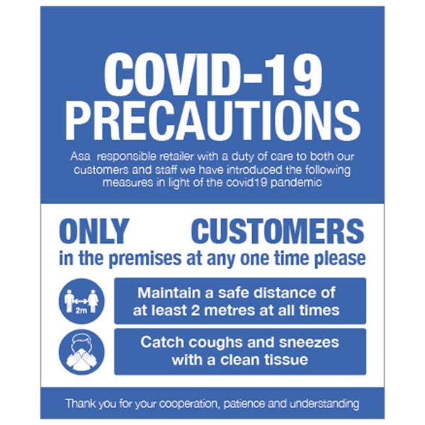 Informative sign for display on shop windows or doors, promoting in-store social distancing and hygiene measures