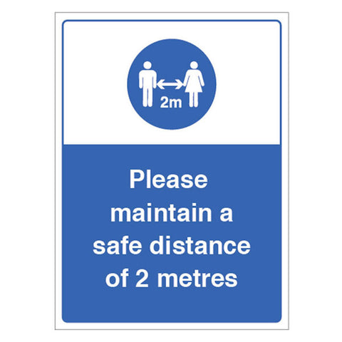 Maintain a Safe 2M Distance Sign