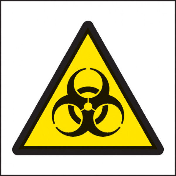 Self adhesive labels with the biological hazard symbol, for clearly indicating a biological hazard is present.