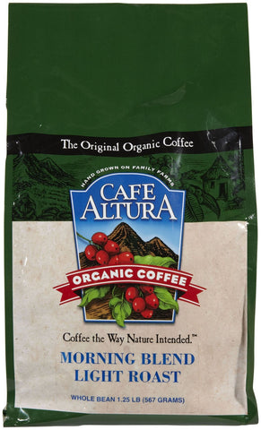CAFE ALTURA: Organic Light Roast Whole Bean Coffee Morning Blend, 1.25 lb