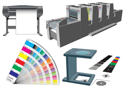 Set of graphic arts tool and machinery for commercial print - illustration