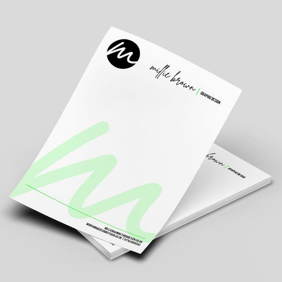 Letterheads Letterheads MD Print Shop 100 120gsm Premium Uncoated White Paper Printed One Side Only