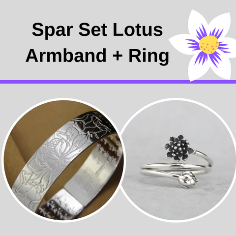 Ring-lotus-Armband-silber-Spar set
