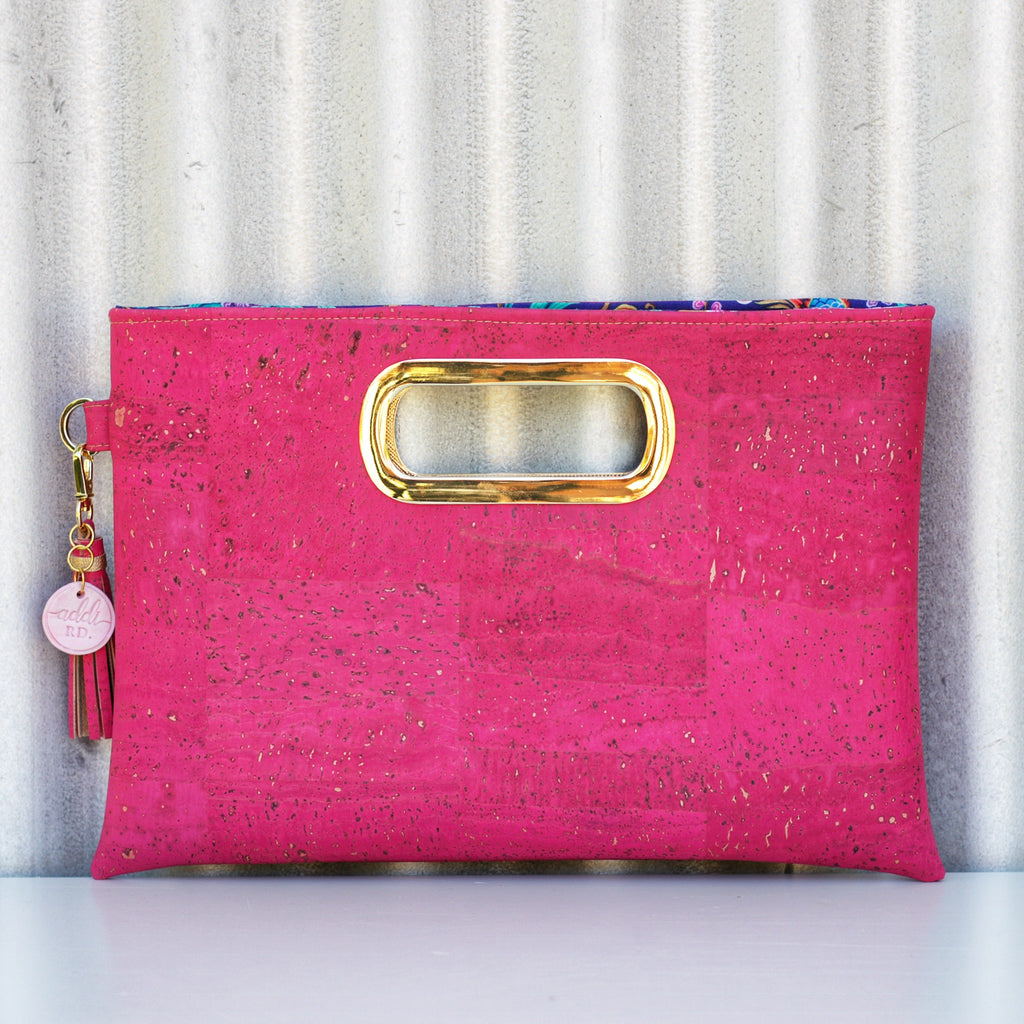 Ready-Made Fuchsia Cork Statement Clutch