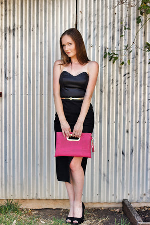 Fuchsia Cork Statement Clutch