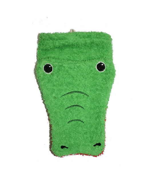 Organic Crocodile Children's Flannel Wash Mitt
