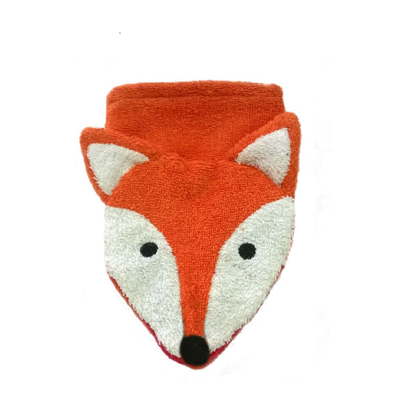 A soft and fun organic fox wash mitt. Organic kids flannel. Organic kids wash cloth. Animal towels.