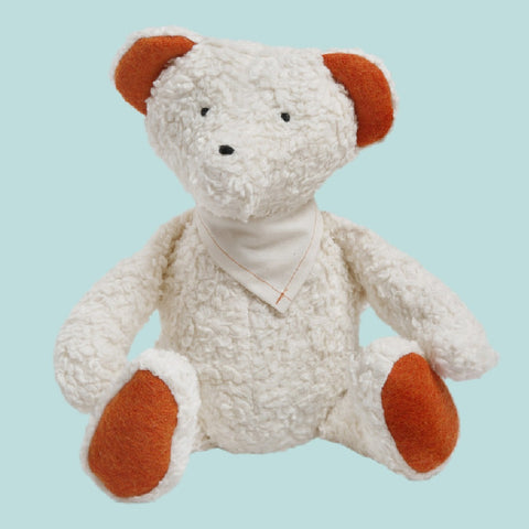 Efie Organic Teddy Bear. Your perfect organic baby soft toy. All our Efie toys are non-toxic toys and are your perfect organic new baby gift! German eco-friendly toys which are fair trade and natural cuddly toys and organic dolls. Environmentally friendly eco baby toys made to the highest GOTS standards.