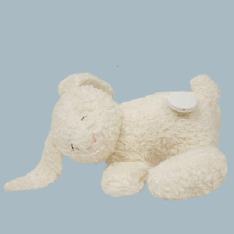 A beautiful white bunny musical toy. Your perfect organic baby soft toy. All our Efie toys are non-toxic toys and are your perfect organic new baby gift! German eco-friendly toys which are fair trade and natural cuddly toys and organic dolls. Environmentally friendly eco baby toys made to the highest GOTS standards.