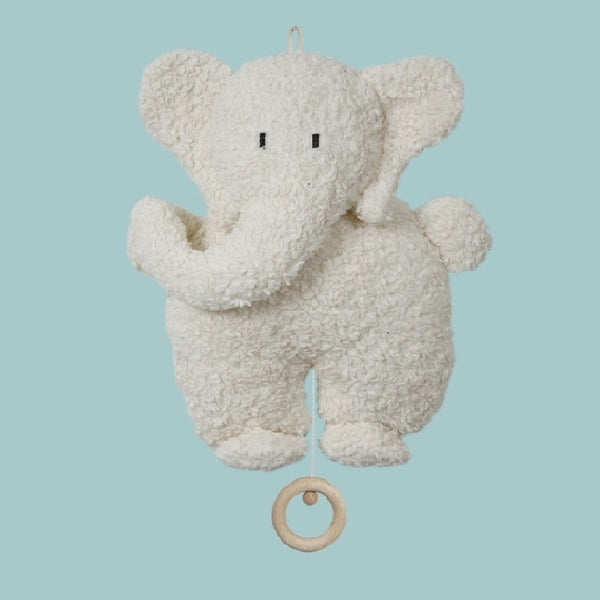 A white elephant organic musical toy Your perfect organic baby soft toy. All our Efie toys are non-toxic toys and are your perfect organic new baby gift! German eco-friendly toys which are fair trade and natural cuddly toys and organic dolls. Environmentally friendly eco baby toys made to the highest GOTS standards.