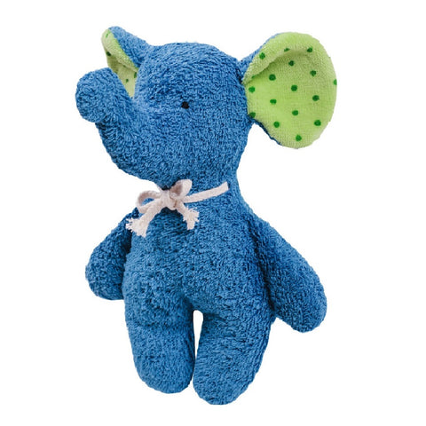 A beautiful blue rattle elephant cuddly toy. Your perfect organic baby soft toy. All our Efie toys are non-toxic toys and are your perfect organic new baby gift! German eco-friendly toys which are fair trade and natural cuddly toys and organic dolls. Environmentally friendly eco baby toys made to the highest GOTS standards.