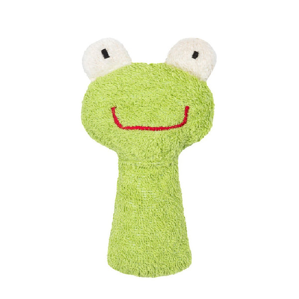 A beautiful green frog rattle. Your perfect organic baby soft toy. All our Efie toys are non-toxic toys and are your perfect organic new baby gift! German eco-friendly toys which are fair trade and natural cuddly toys and organic dolls. Environmentally friendly eco baby toys made to the highest GOTS standards.
