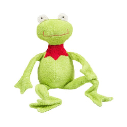 A green frog cuddly toy. Your perfect organic baby soft toy. All our Efie toys are non-toxic toys and are your perfect organic new baby gift! German eco-friendly toys which are fair trade and natural cuddly toys and organic dolls. Environmentally friendly eco baby toys made to the highest GOTS standards.