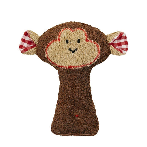 A lovely brown monkey rattle toy. Your perfect organic baby soft toy. All our Efie toys are non-toxic toys and are your perfect organic new baby gift! German eco-friendly toys which are fair trade and natural cuddly toys and organic dolls. Environmentally friendly eco baby toys made to the highest GOTS standards.
