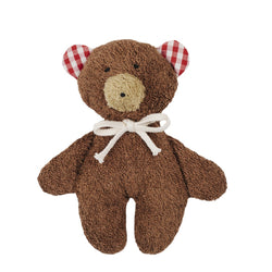A lovely brown teddy bear cuddly rattle toy. Your perfect organic baby soft toy. All our Efie toys are non-toxic toys and are your perfect organic new baby gift! German eco-friendly toys which are fair trade and natural cuddly toys and organic dolls. Environmentally friendly eco baby toys made to the highest GOTS standards.