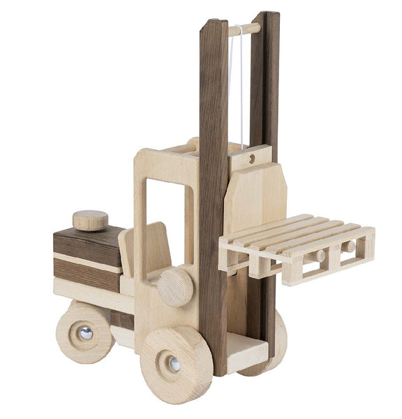 A beautiful goki nature forklift truck natural eco-friendly wooden toy. Your perfect natural baby toy. All our goki nature wooden toys are non-toxic untreated wooden toys and if you like organic toys you will love these as part of your perfect baby gift! German eco friendly toys which are fair trade, made in Europe from sustainably sourced EU wood. Environmentally friendly wooden eco baby toys made to the highest standards. Customers who like Waldorf and Montessori toys like these unpainted toddler toys