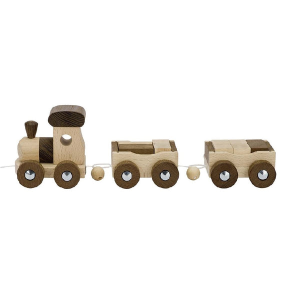 A beautiful unpainted natural eco-friendly wooden toy train. Your perfect natural baby toy. All our goki nature wooden toys are non-toxic untreated wooden toys and if you like organic toys you will love these as part of your perfect baby gift! German eco friendly toys which are fair trade, made in Europe from sustainably sourced EU wood. Environmentally friendly wooden eco baby toys made to the highest standards. Customers who like Waldorf and Montessori toys often like these unpainted toddler toys too.