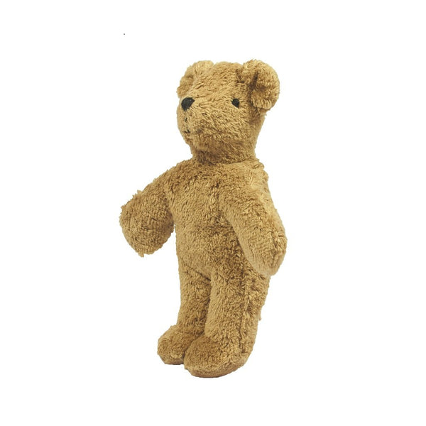Senger Small Organic Teddy Bear Soft Toy standing up. the perfect organic teddy bear in the UK.