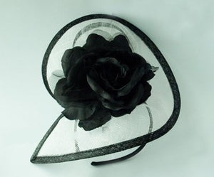 'Zara' White and Black Fascinator