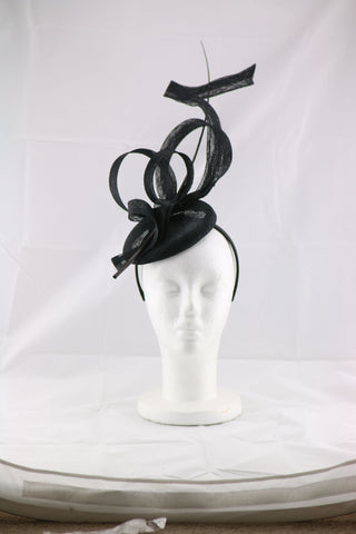 Image of 'Jessica' Black Large Fascinator Headband
