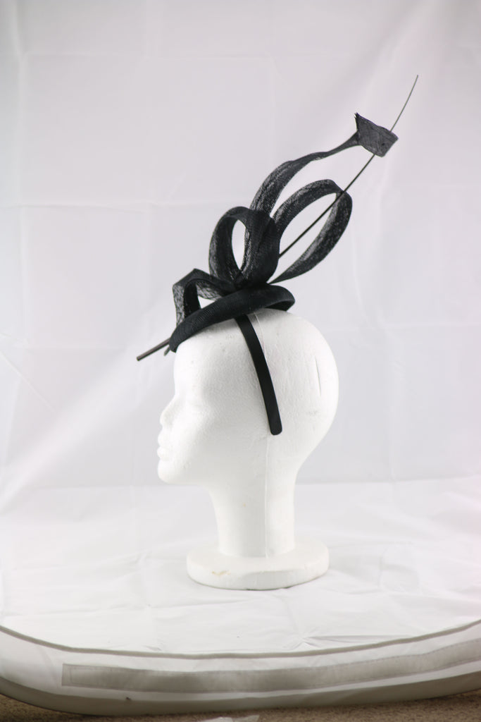 'Jessica' Black Large Fascinator Headband
