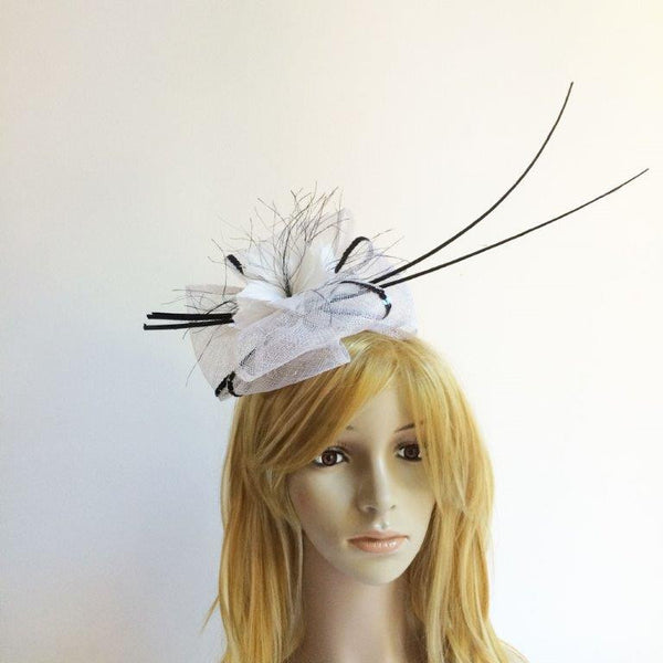 """Pandora"" White and Black Fascinator"