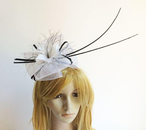 """Pandora"" White and Black Fascinator-Fascinators-Fascinators Direct Online-Fascinators Australia"