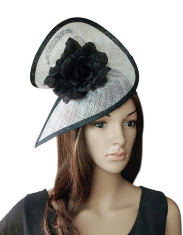 Image of 'Zara' White and Black Fascinator-Fascinators-Fascinators Direct Online-Fascinators Australia