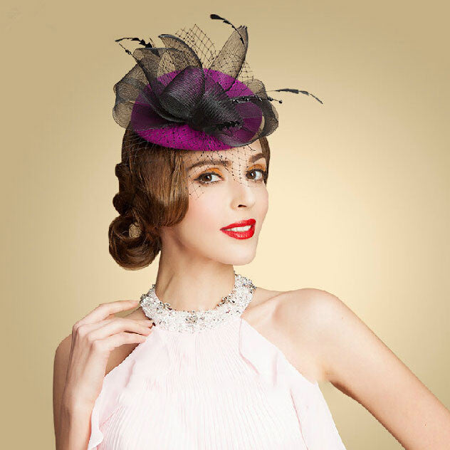 """Aria"" Purple and Black Fascinator-Fascinators-Fascinators Direct Online-Fascinators Australia"