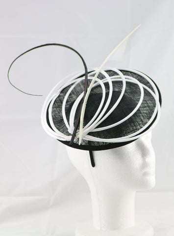"Image of ""Armada"" Black and White Fascinator"