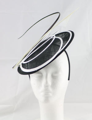 """Armada"" Black and White Fascinator"