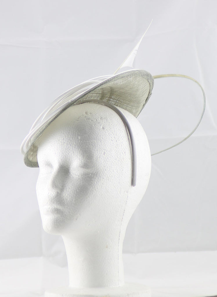 """Armada"" Grey and White Fascinator"