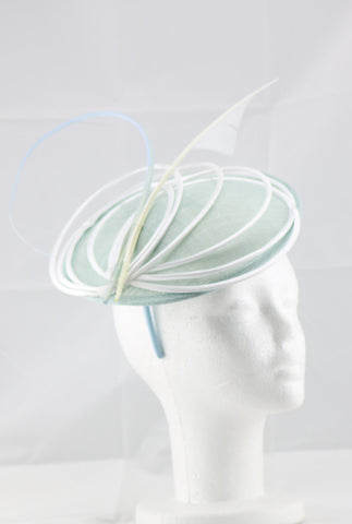 """Armada"" Light Aquamarine and White Fascinator"