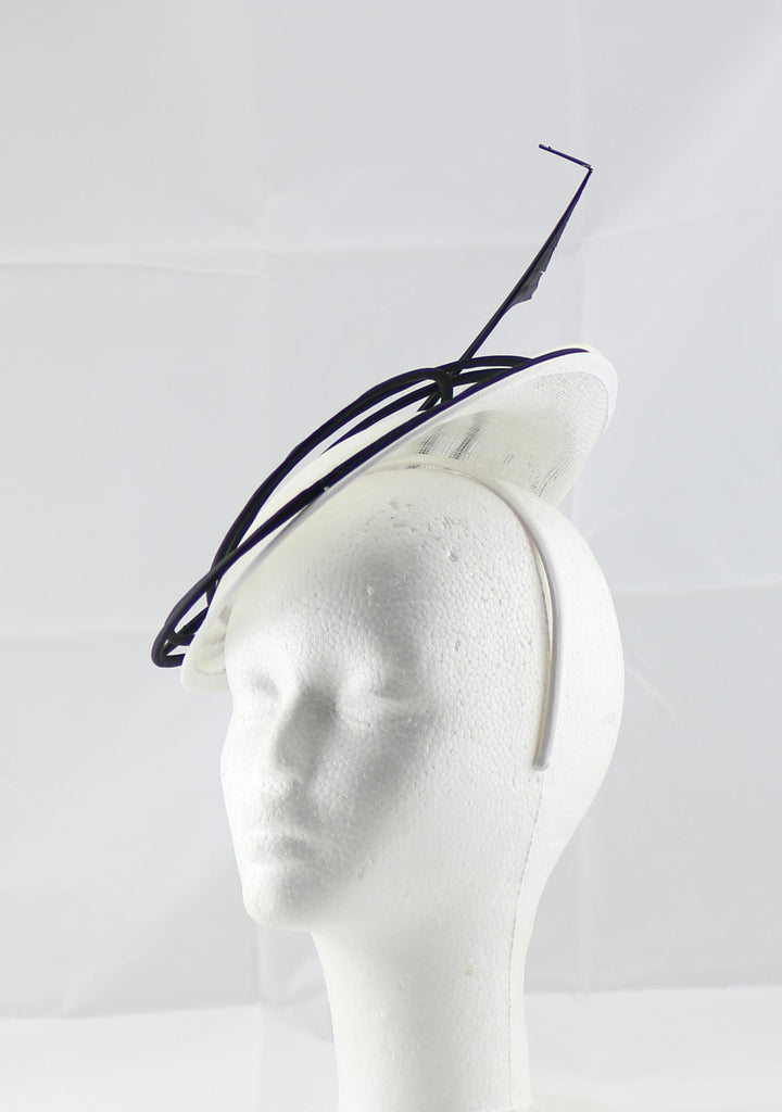 """Armada"" White and Black Fascinator"