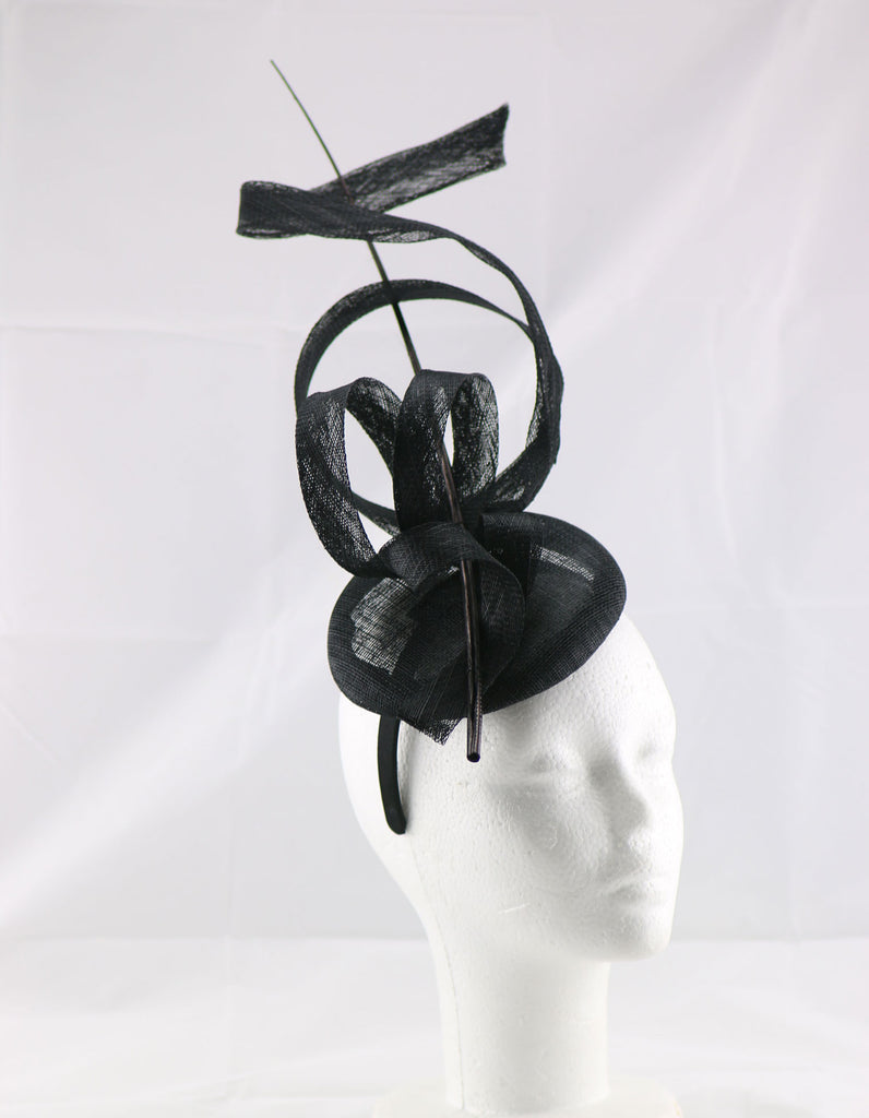 'Jessica' Navy Blue Large Fascinator Headband