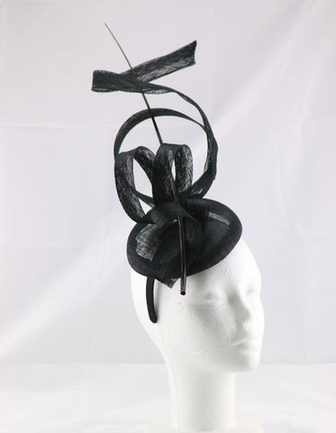 Image of 'Jessica' Navy Blue Large Fascinator Headband