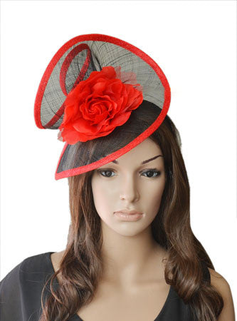 'Zara' Red and Black Fascinator