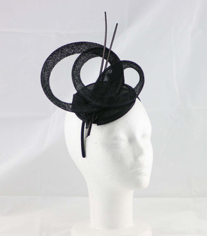 """Brittany"" Black Fascinator"