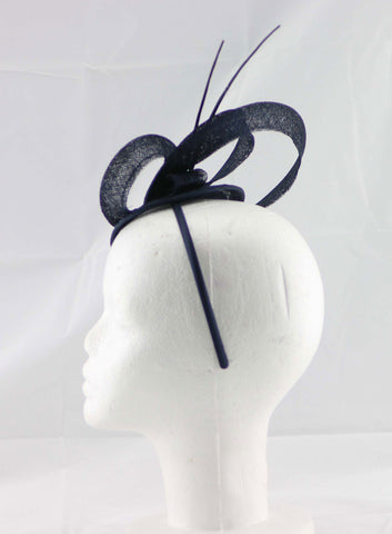 """Brittany"" Navy Blue Fascinator"